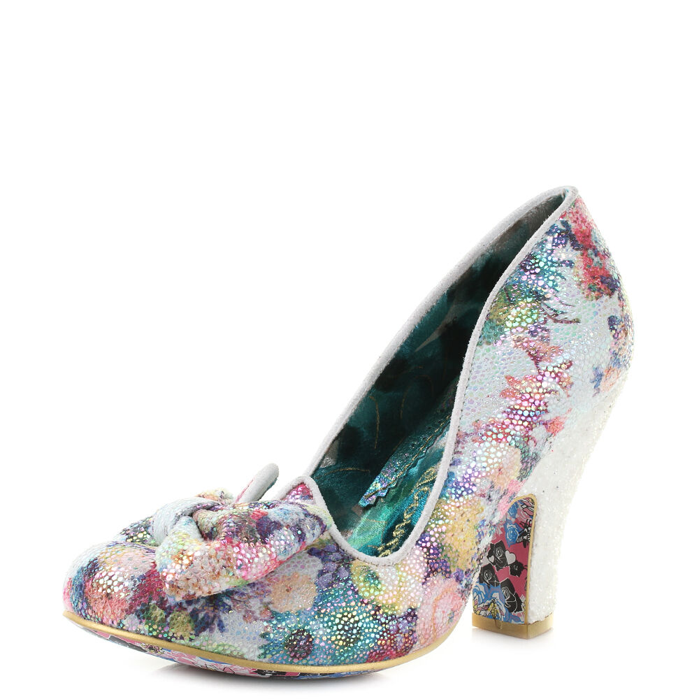 Womens Irregular Choice Nick Of Time Floral Print Bow Court Heels Shoes Size