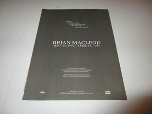 BRIAN-MACLEOD-Headpins-Chilliwack-original-magazine-memorial-ad-1992-rare