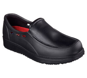 Slip-Resistant-Work-Black-Skechers-Shoes-Safety-Men-039-s-Memory-77090-Foam-Slipon