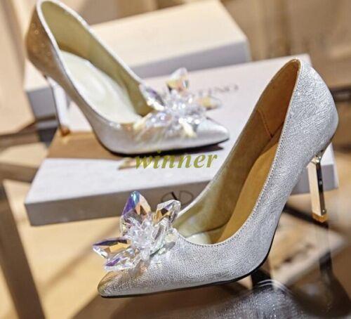 Ladies/' Pointy Toe heel Heel Diamond Crystal Shoes Wedding Party Shoes Sz New