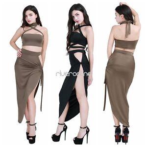 2pcs-Women-Halter-Split-Bandage-Bodycon-Party-Club-Dress-Crop-Top-Wrap-Skirt