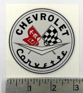 "Vintage Corvette original sticker decal 3"" dia."