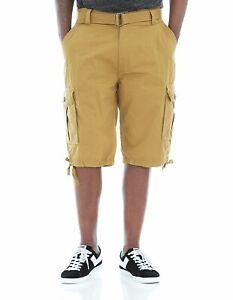 Ablanche-Khaki-Belted-Cargo-Shorts