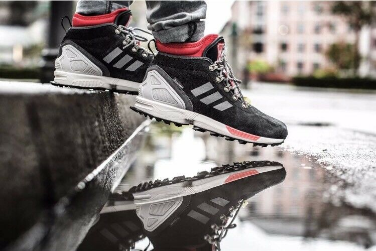 Mens Adidas Originals ZX Flux Winter Shoes Size 10 Black Red S82931 New