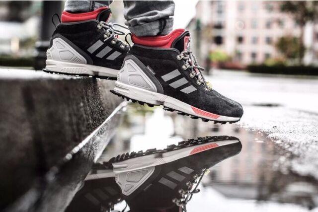Mens Adidas Originals ZX Flux Winter Shoes Size 8 Black Red S82931 New