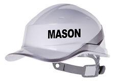2X MASON Hard Hat vinyl decal. Warehouse sticker transfer CUSTOM COLOUR & FONT