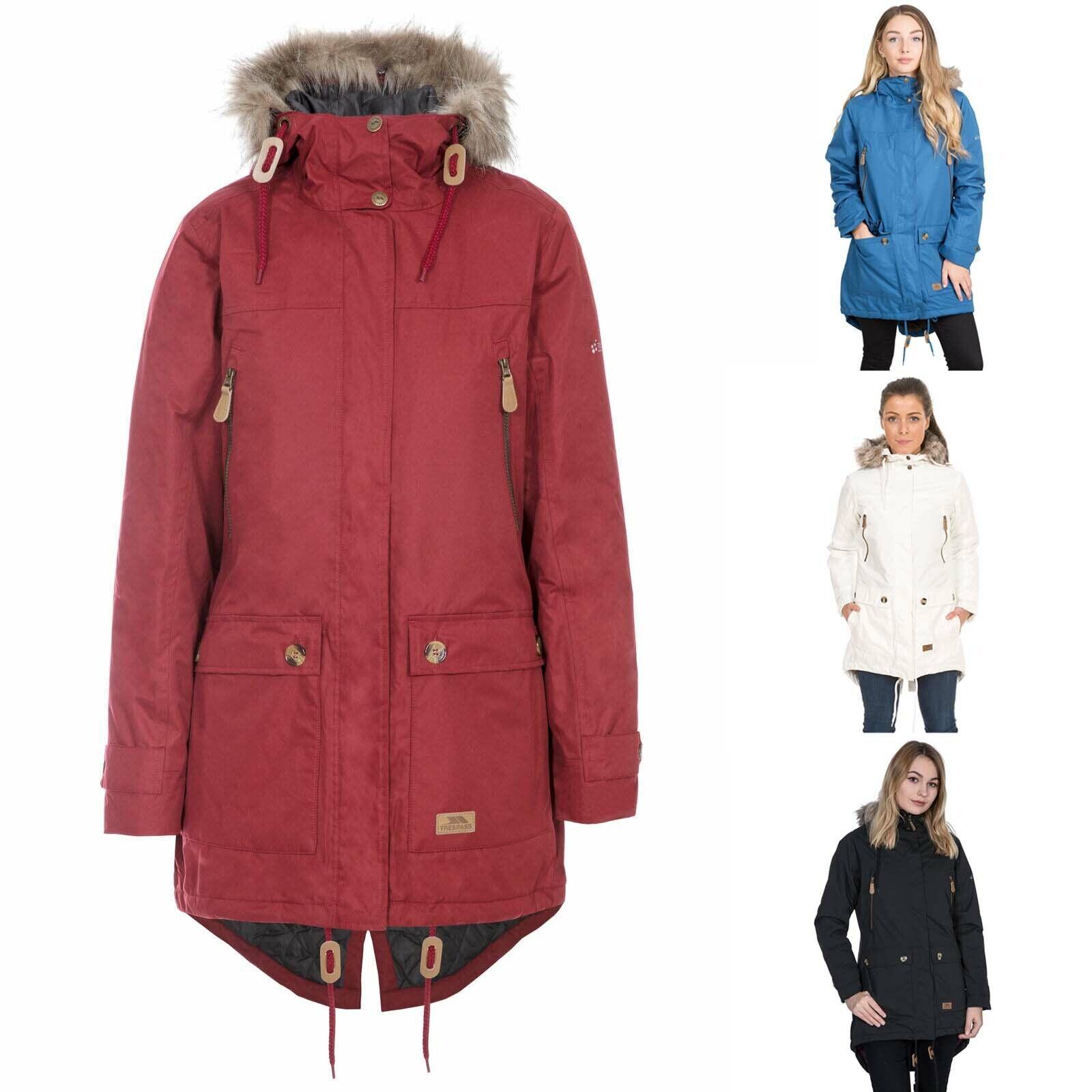 Trespass Clea Womens Waterproof Padded Jacket   Ladies Long Coat with Taped Seam