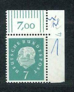 BRD Michel-Nr. 302 Ecke 2 mit Druckerzeichen - Eckrand DZ 4  ** Mi. 60,-