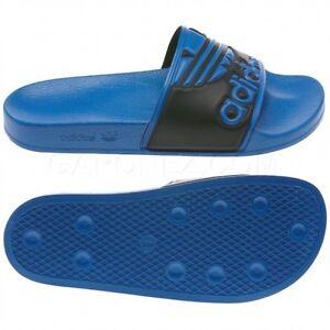 bdd7be230ec28a Image is loading New-Adidas-ADILETTE-Trefoil-Slides-Sandals-Black-Blue-
