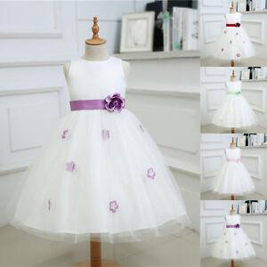 NEU-Maedchen-Kinder-Blumenmaedchen-Kleid-Kommunionkleid-Hochzeit-Abendklei