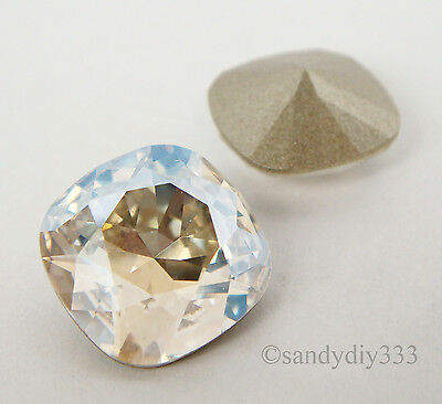 2x SWAROVSKI 4470 MOONLIGHT CRYSTAL 12mm SQUARE CABOCHON FANCY STONE (Foiled)