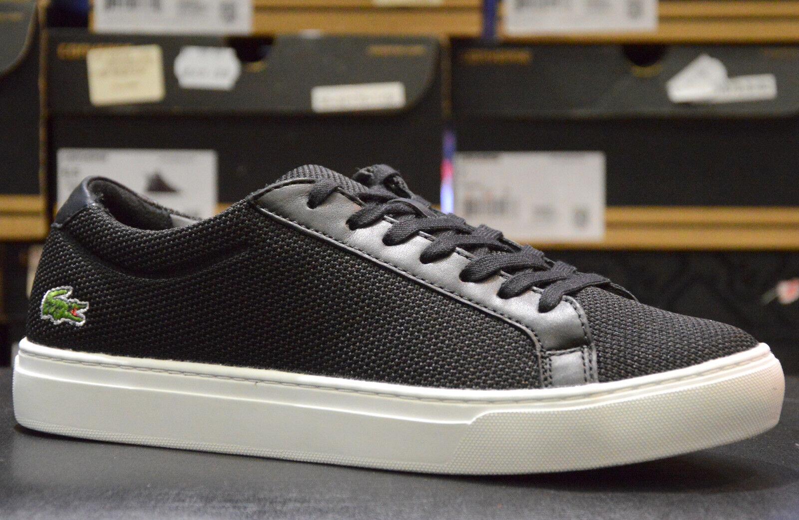 Lacoste Herrenschuhe Damenschuhe Sneaker Turnschuhe Leder Schwarz Textil
