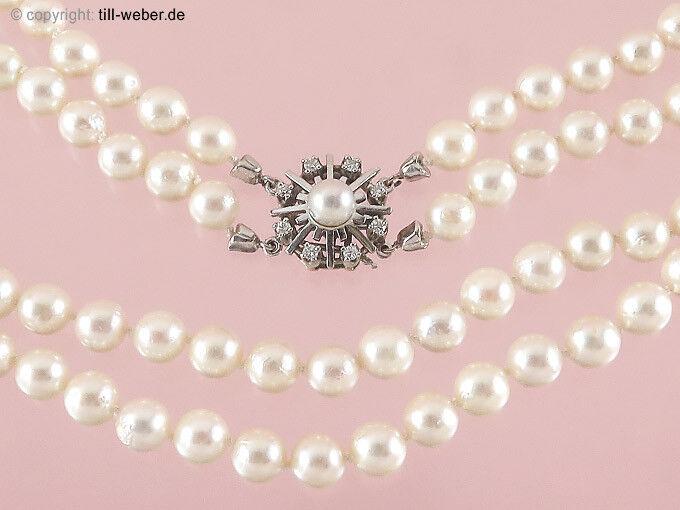 Perle Collier Catena Diamanti 585er bianco e e e giallo 1dbf90