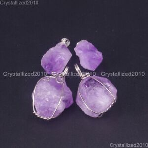 Natural-Lavender-Amethyst-Gemstones-Healing-Beads-Nugget-Pendant-Charm-Beads