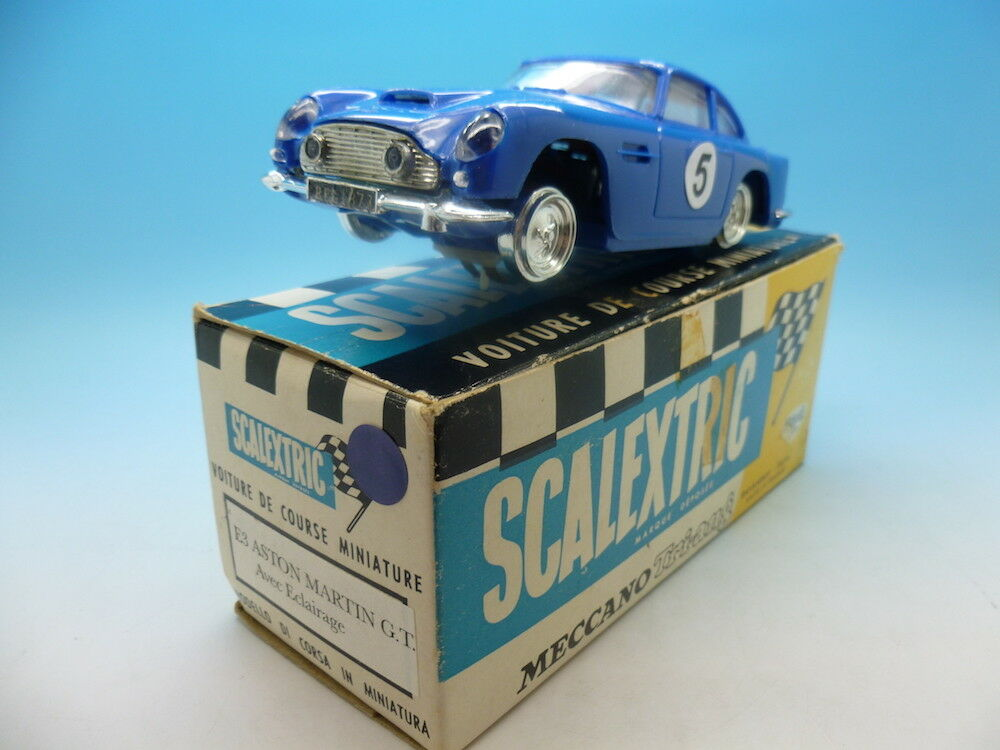 Scalextric E3 French Aston Martin GT in bluee, boxed, superb condition
