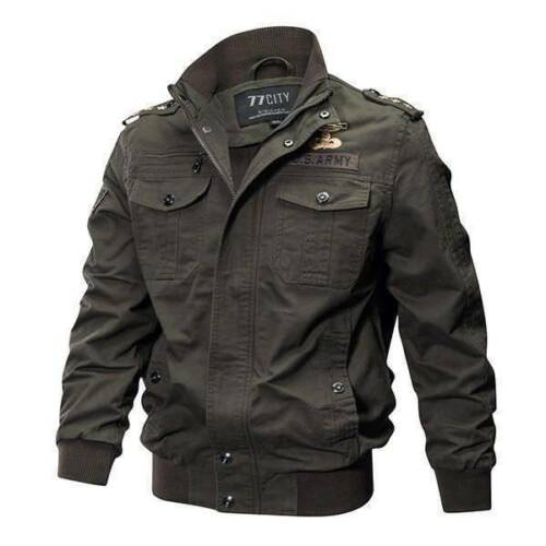 Men/'s Military cotton jackets casual collar bomber jacket coat parkas outwear