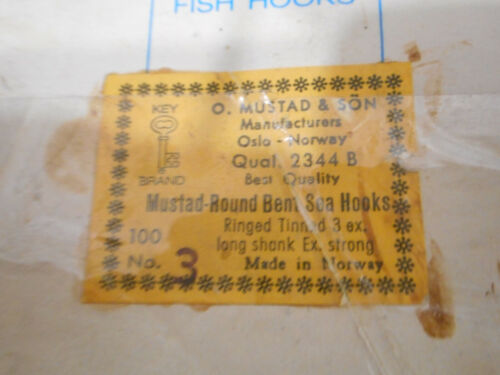 Mustad Big Game #3,8/0? ROUND BENT SEA Hooks annelé étamé 3X LONG STRONG 2344 B