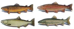 Trout and Salmon metal badge on the cap or clothing approx 55 mm (2.16 in) NEW