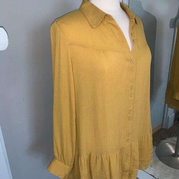 Soft Surroundings mustard yellow tunic blouse Sz M - image 4