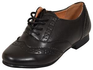Girls//Childrens Kids Brogue Lace Fastening School Shoes Black Sz 10-2 RRP £24