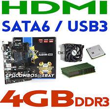 COMBO AMD A10-5800K QUAD CORE CPU+4GBDDR3 RAM+MSI A68HM-E33 HDMI FM2+Motherboard