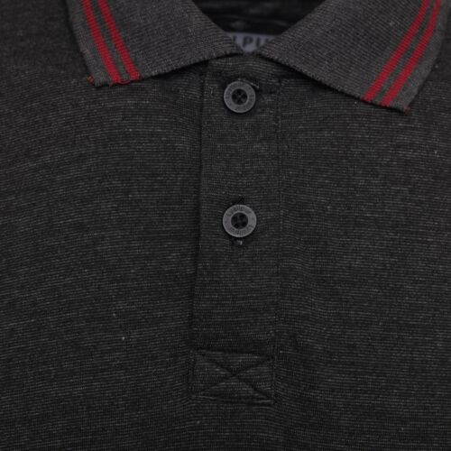 Men/'s Polo Shirt with Flat Knit Collar Charcoal Marl Colour Cotton Rich Fabric