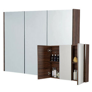 Image Is Loading Large Mirrored Bathroom Cabinet Walnut Rectangular 900mm Shelving