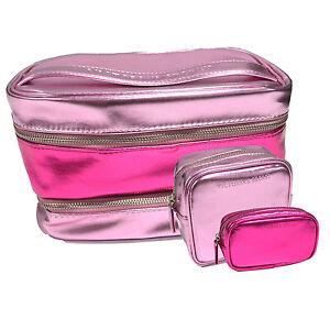 Details about Victoria's Secret Bag 3 Piece Cosmetic Train Case Set Make Up Pink Travel Beauty