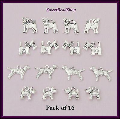 16 Antique Silver Colour Mixed Pack DOG Charms Pet Pug Scottie Retriever Terrier