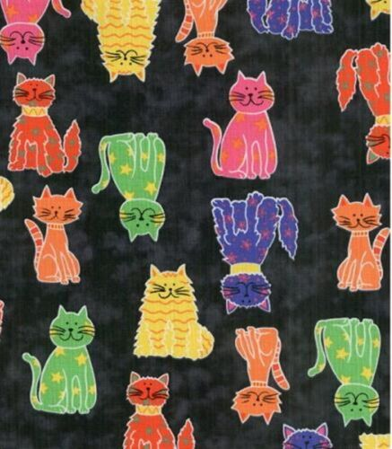 Fat Quarter Cat/'s Meow Black Printed Cotton Quilting Sewing Fabric