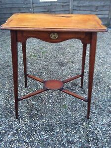 ANTIQUE-VICTORIAN-WINDOW-TABLE-MAHOGANY-INLAID-WITH-DRAWER