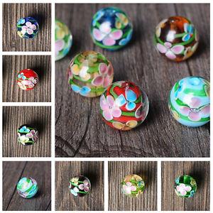 12-14mm-Plum-Flower-Glass-Beads-DIY-Necklace-Bracelet-Loose-Beads-Findings