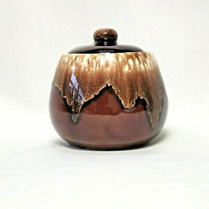 McCoy Pottery Sugar Bowl with Lid Brown Drip Pattern