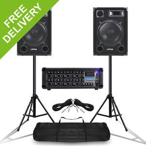 mobile dj speakers pa amplifier mixer stands band disco kit set 1400w 12 ebay. Black Bedroom Furniture Sets. Home Design Ideas