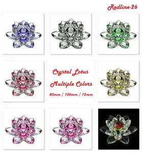 Decorative-Crystal-Lotus-Paperweight-Decor-Multiple-Colors-3-034-4-034-5-034