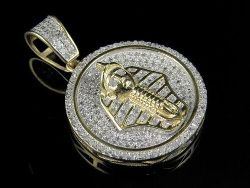 "Men/'s 10K Yellow Gold Egyptian Pharoah Genuine Diamond Pendant Charm 0.60ct 1.0/"""