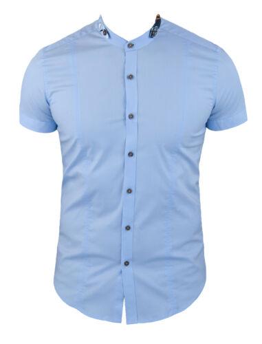 Korte Sartoriale Fit Babyblauw katoen Slim Casual mouwen Herenoverhemden strak MpUSGqzV