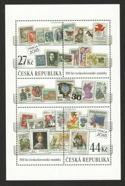 CZECH 2018 100 YEARS OF CZECHOSLOVAK POSTAGE STAMPS (STAMPS ON STAMPS) S/ SHEET