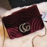 2017 Women Handbag CG Luxury Designer Velvet Waves Flap Bag Chain Cross-body Bag