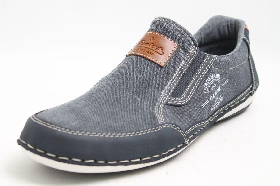 Rieker Schuhe blau Leinen Variobündchen Variobündchen Leinen Wechselfußbett 0e6edd