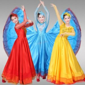Colourful-Womens-Opening-Dance-Wide-Flare-Dress-Large-Ethnic-Dance-Full-Lenght