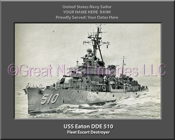 USS Eaton DDE 510 Personalized Canvas Ship Photo Print Navy Veteran Gift
