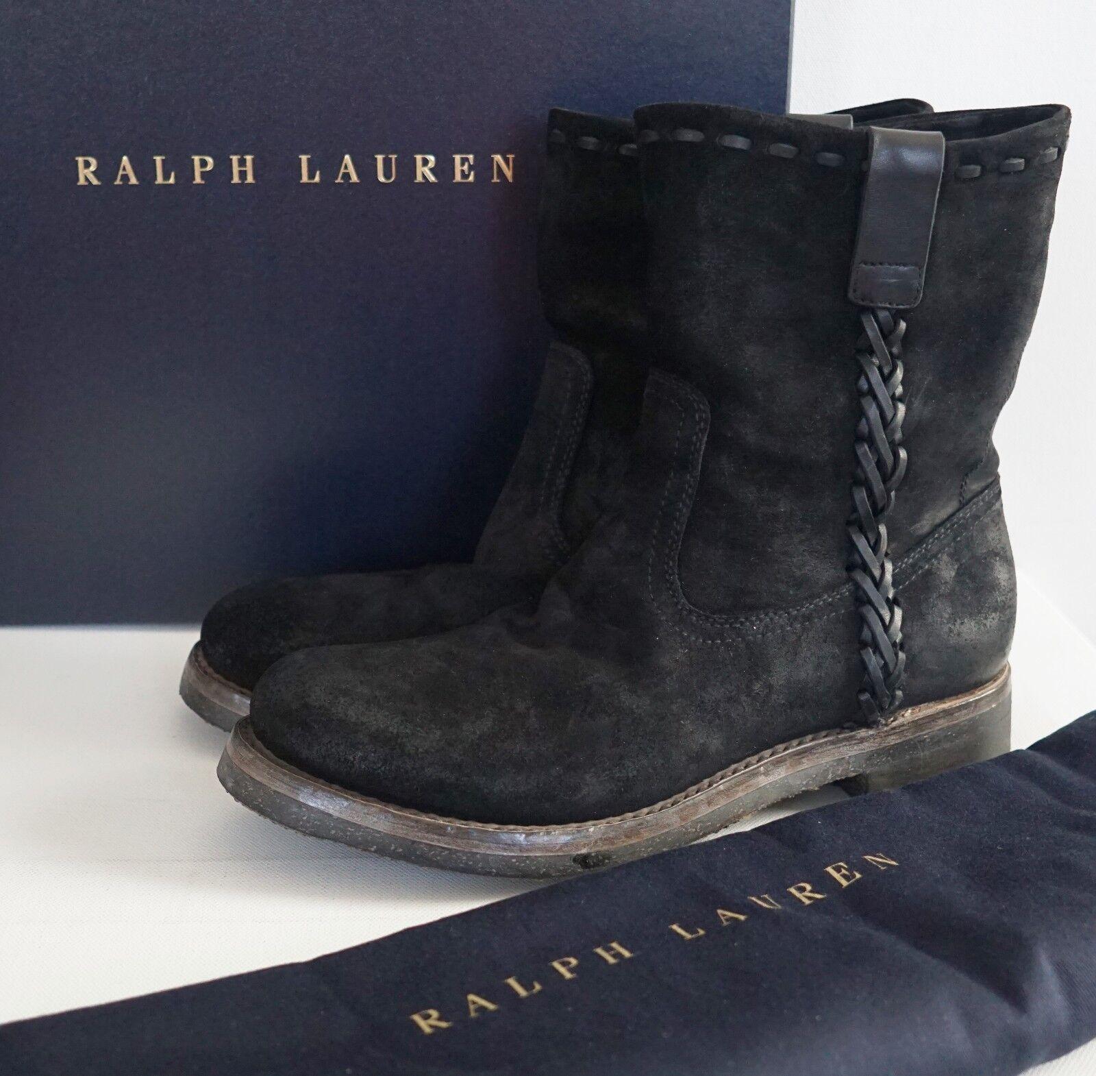 6311b83f5c1 Ralph Lauren Purple Label Jerrod Oiled Suede Roper Western Boot 7d Eur-40