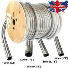 Braided Fuel Hose Line Stainless Steel Petrol Pipe Metal Flex Reinforced SS Oil