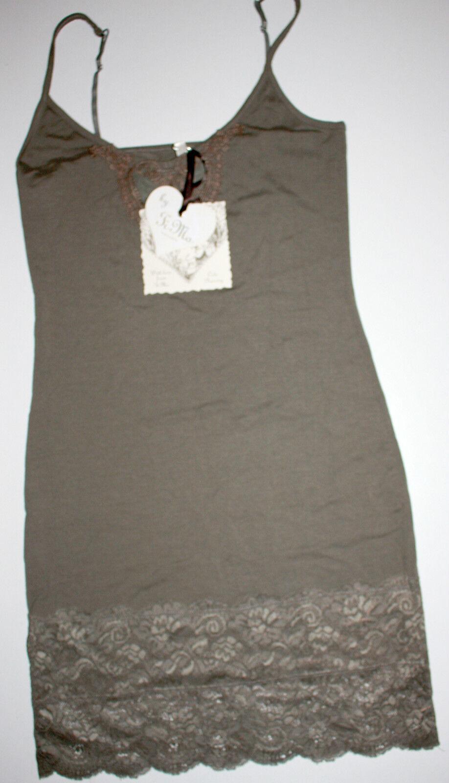 By Timo Ti Mo Träger-Kleid Dress Tunika Vintage Spitze Khaki Größe XS   Neu