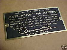 Austin Healey 100 Sebring MPH Bonneville Plate Donald Healey Signature Etched Br