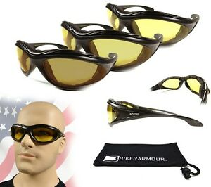 PADDED MOTORCYCLE Day Night RIDING GOGGLES With Strap Silver Frame Yellow Lens