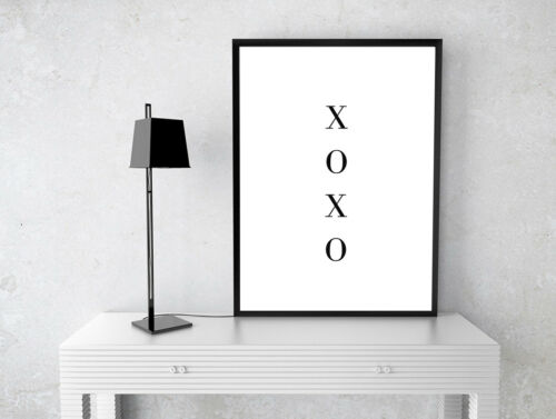 INSPIRATIONAL HUGS AND KISSES XOXO PRINT QUOTE A4 POSTER 280GSM SATIN