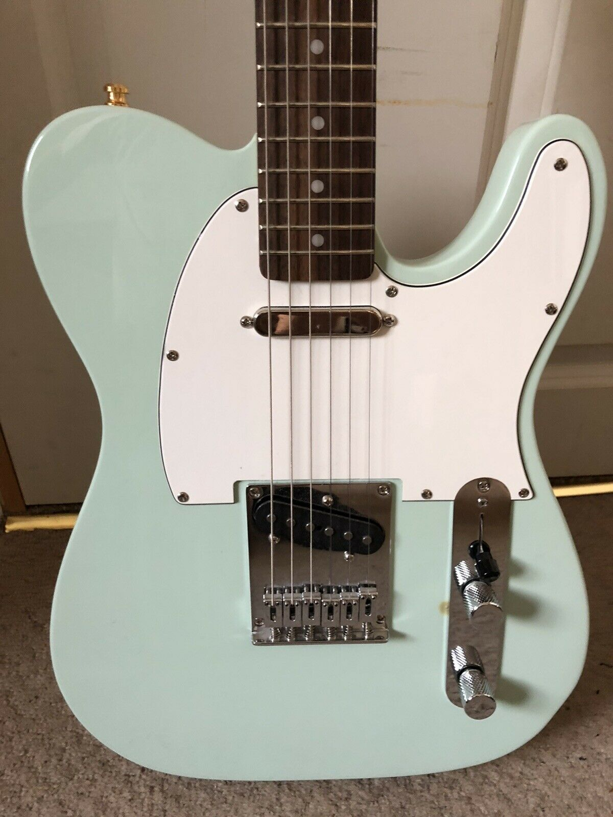 This Squier Telecaster electric guitar is for sale - Ltd Run Surf Green Squier Bullet Telecaster With Bare Knuckle Pickups!