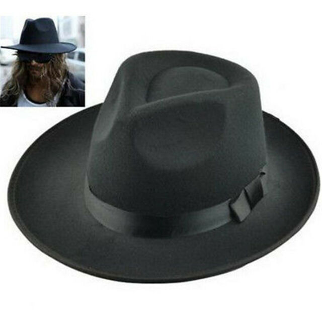 FD3933 Men s Vintage Retro Genuine Wool Felt Wide Brim Fedora Pork Pie Hat  ... 69ba70b4441